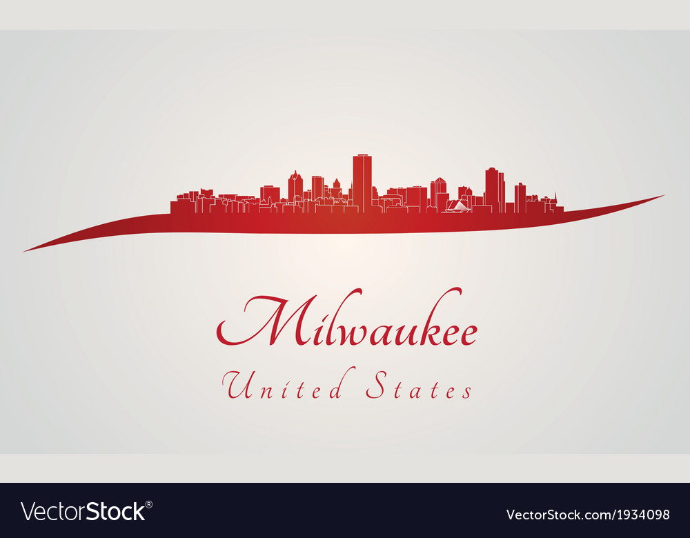 Milwaukee skyline in red vector | Price: 1 Credit (USD $1)