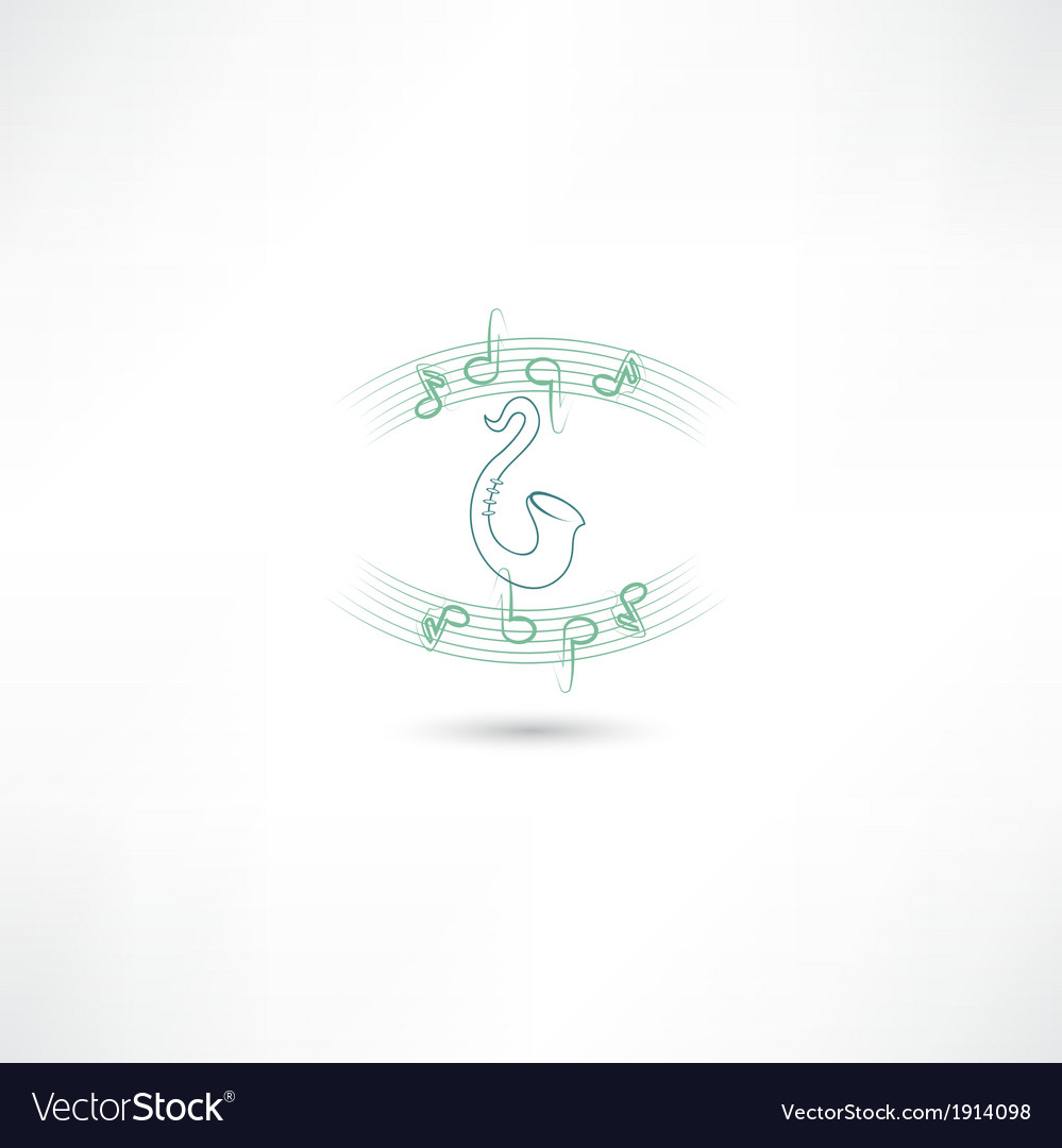Saxophone and music vector | Price: 1 Credit (USD $1)