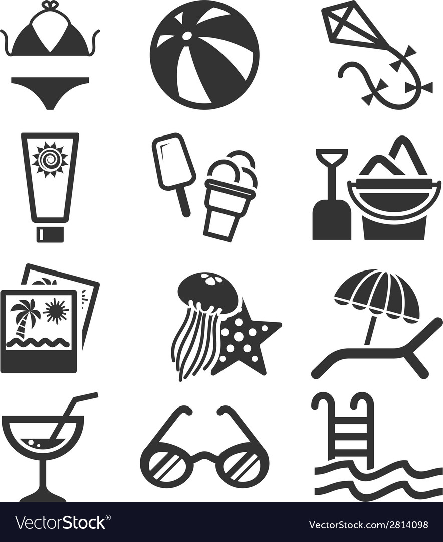 Summer icon set vector | Price: 1 Credit (USD $1)