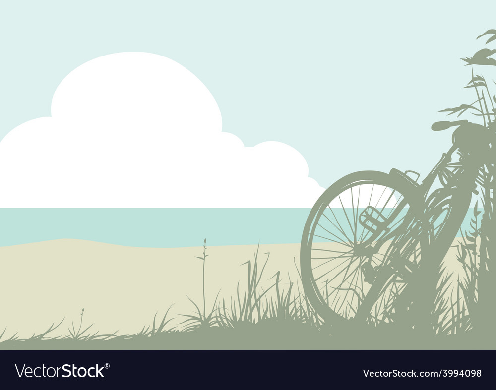 Summer landscape with a bicycle vector | Price: 1 Credit (USD $1)