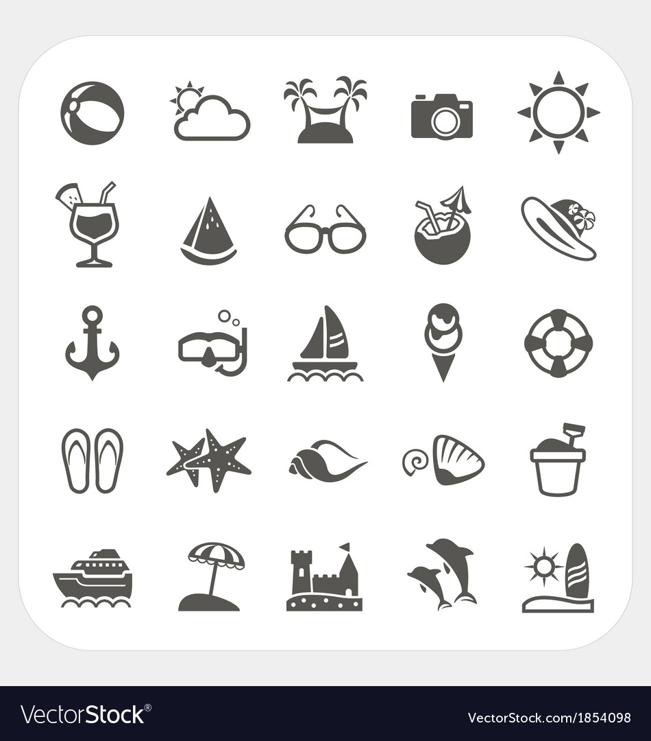 Summer vacation icons set vector | Price: 1 Credit (USD $1)