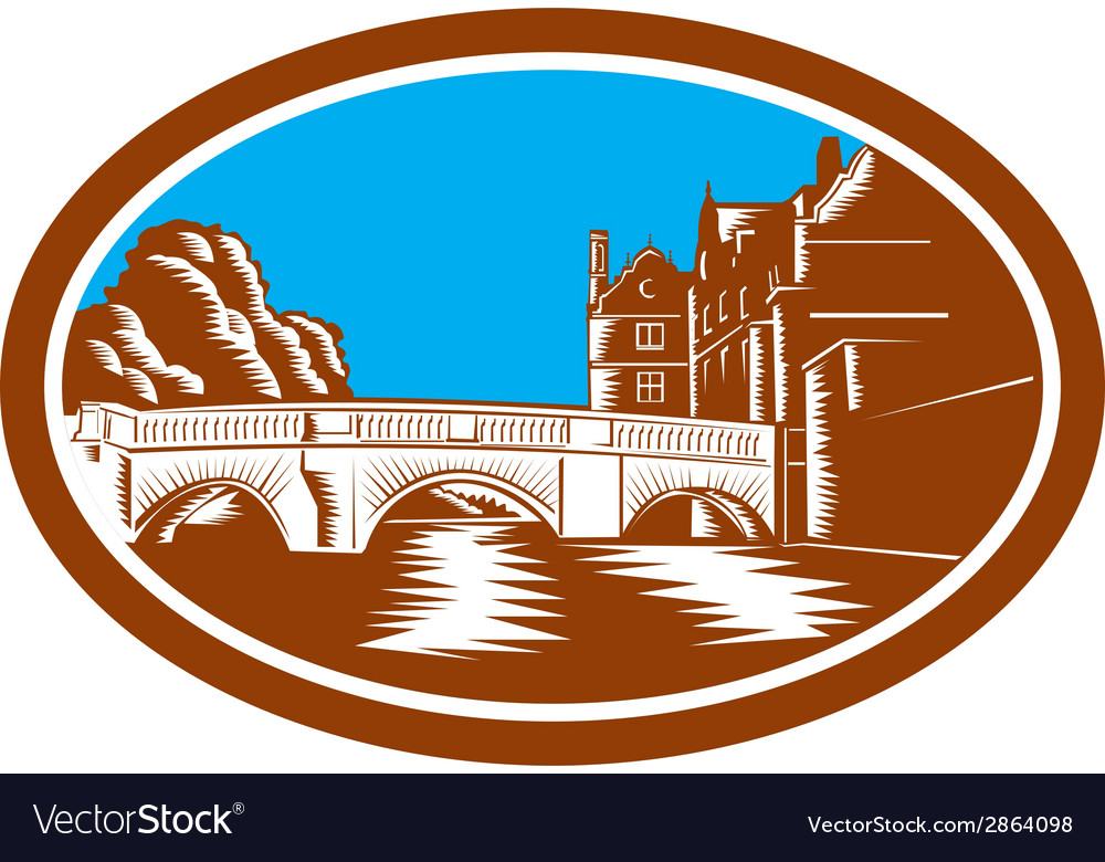 Trinity college bridge cambridge woodcut vector | Price: 1 Credit (USD $1)