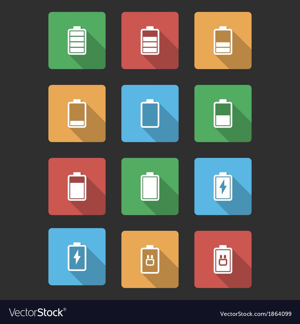Battery black icons with long shadow vector | Price: 1 Credit (USD $1)