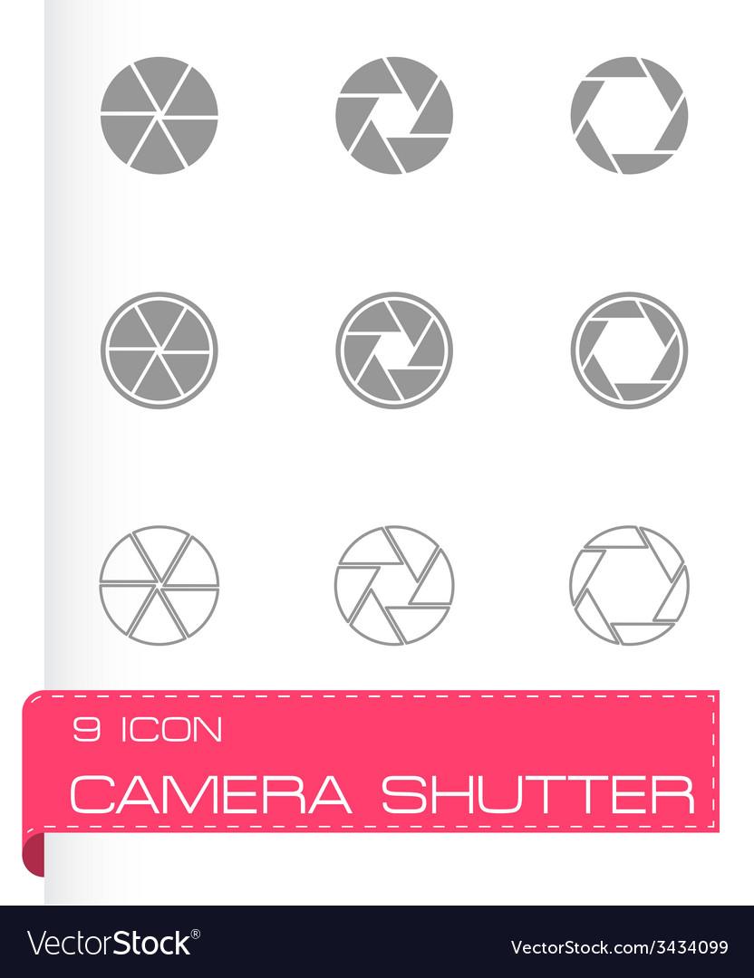 Black camera shutter icon set vector   Price: 1 Credit (USD $1)