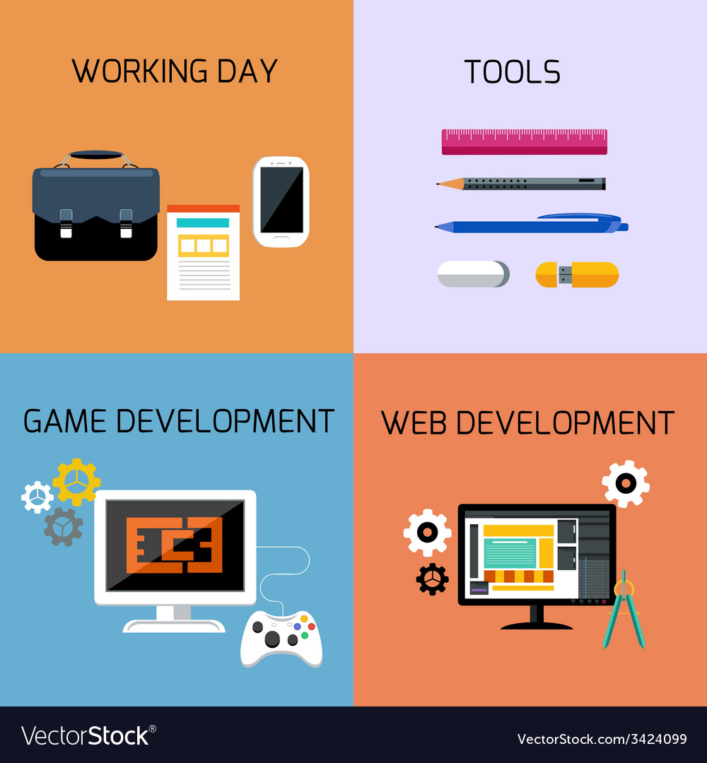 Game web development and business tools icon set vector | Price: 1 Credit (USD $1)