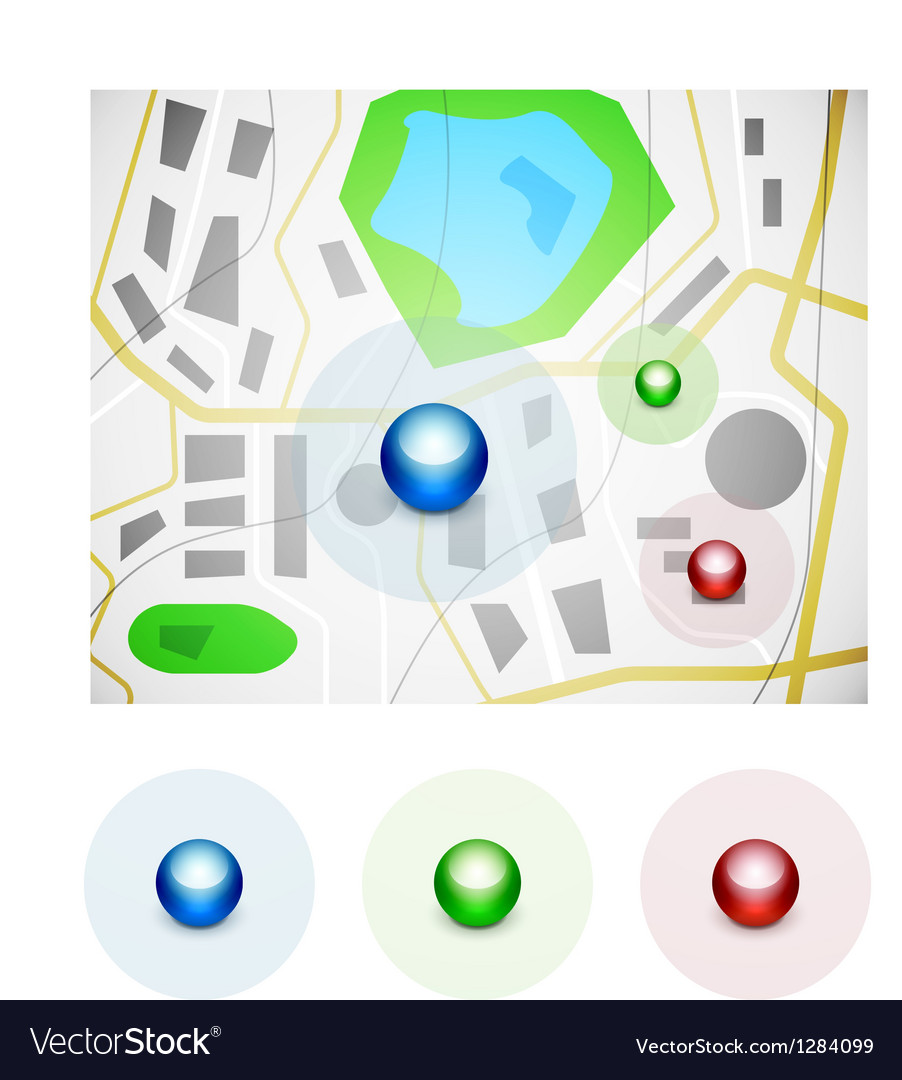 Glossy spheres map pointer icons vector | Price: 1 Credit (USD $1)
