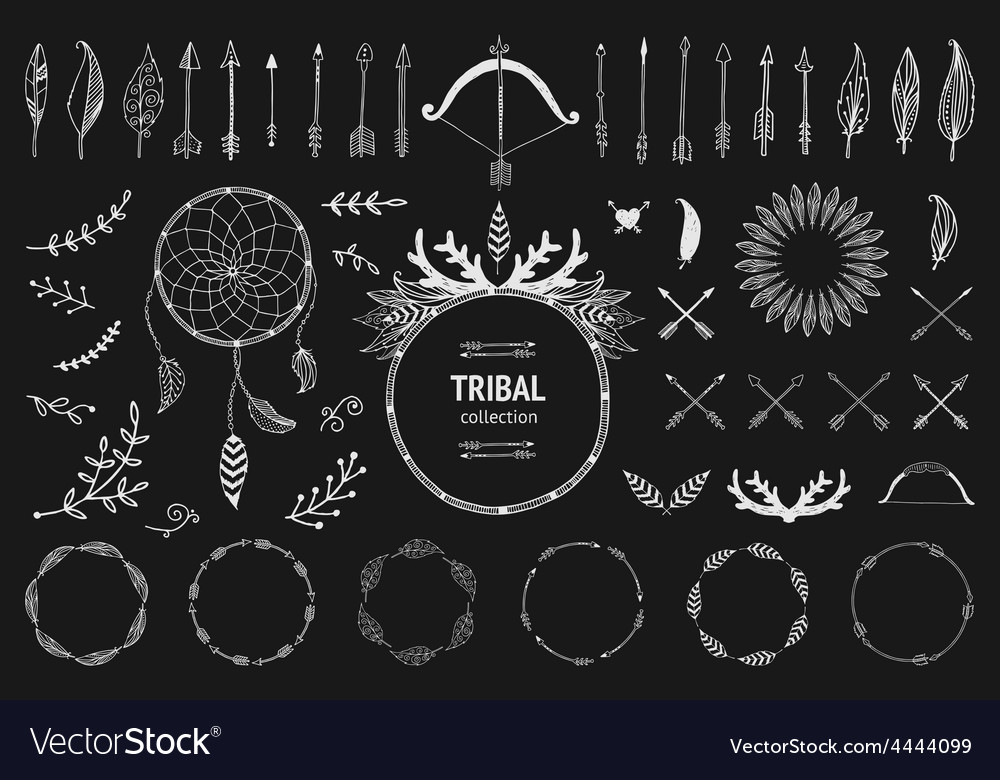 Hand drawn tribal collection with bow and arrows vector | Price: 1 Credit (USD $1)