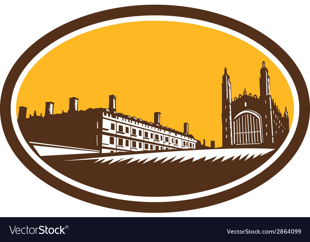 Kings college university of cambridge woodcut vector | Price: 1 Credit (USD $1)