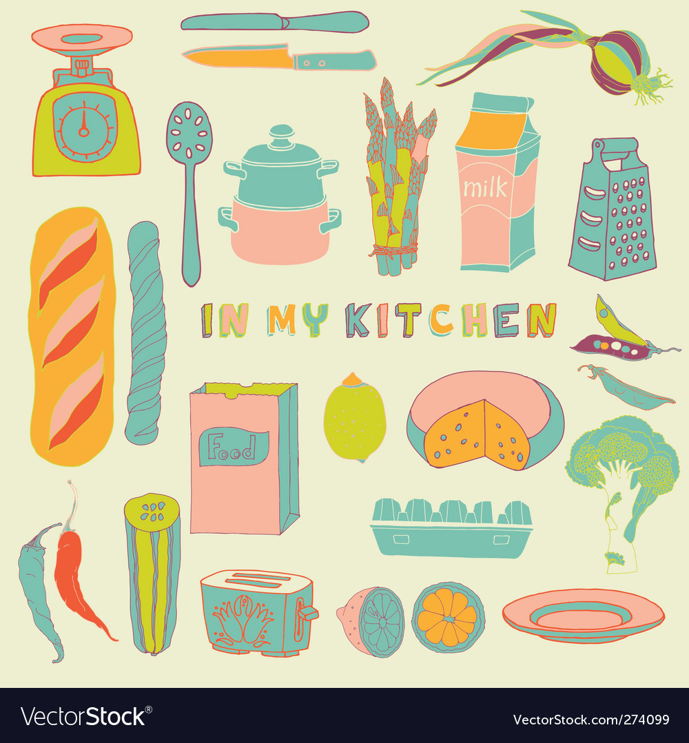 Kitchen seamless pattern vector | Price: 3 Credit (USD $3)