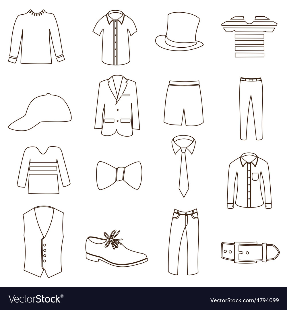 Mens simple outline clothing icon set eps10 vector