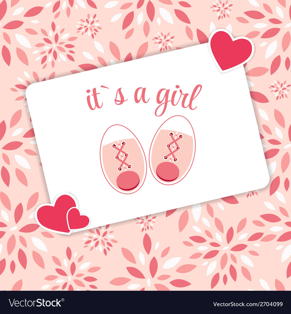 Pink baby shoes for newborn girl vector | Price: 1 Credit (USD $1)