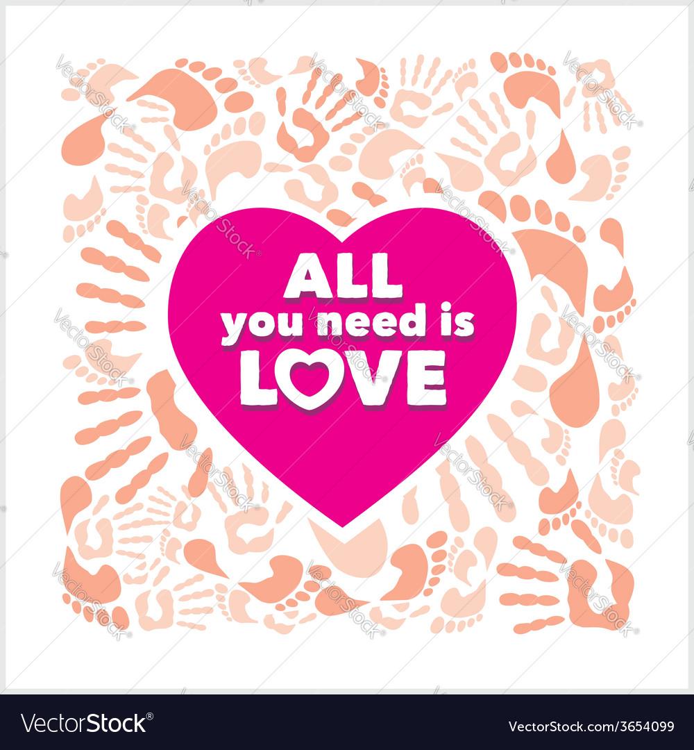 Pink heart  handprints and footprints - vector | Price: 1 Credit (USD $1)
