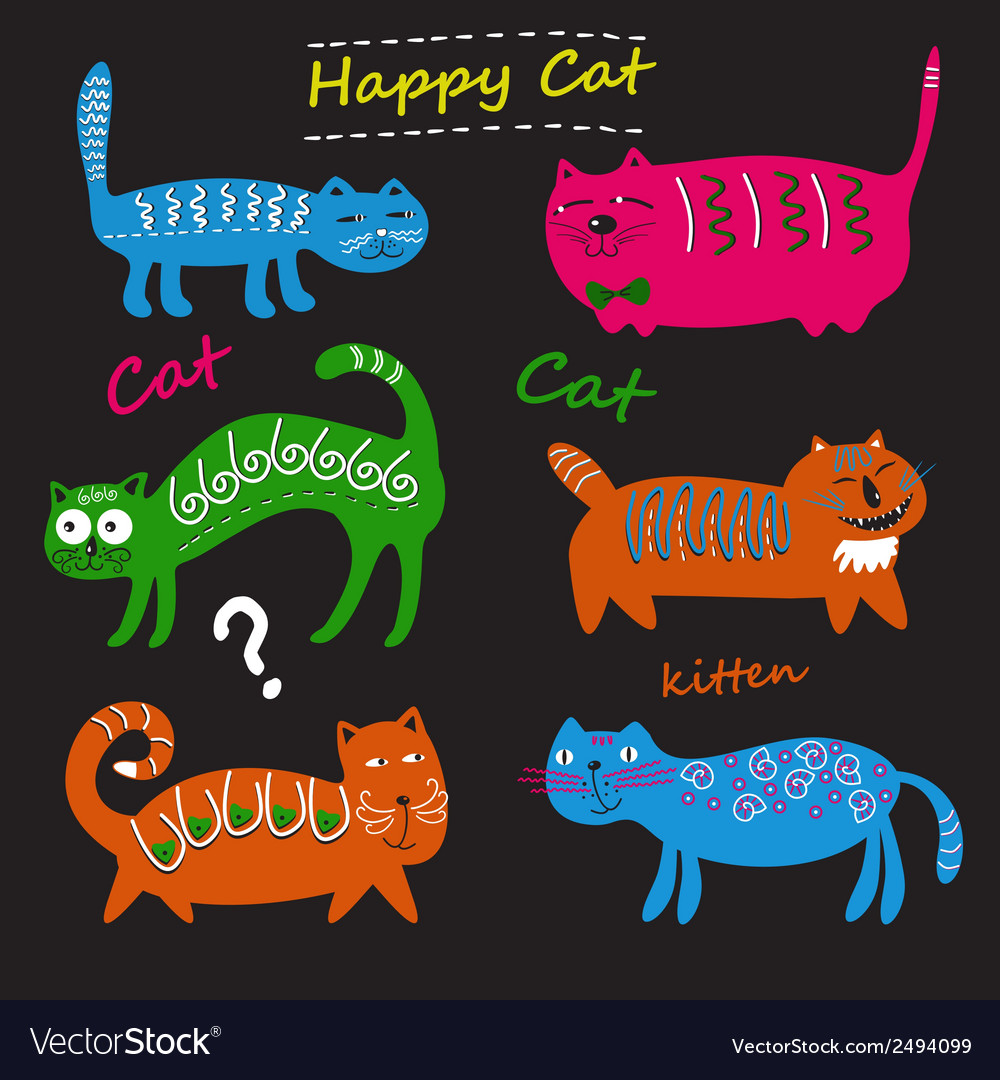 Set of cute cats vector | Price: 1 Credit (USD $1)