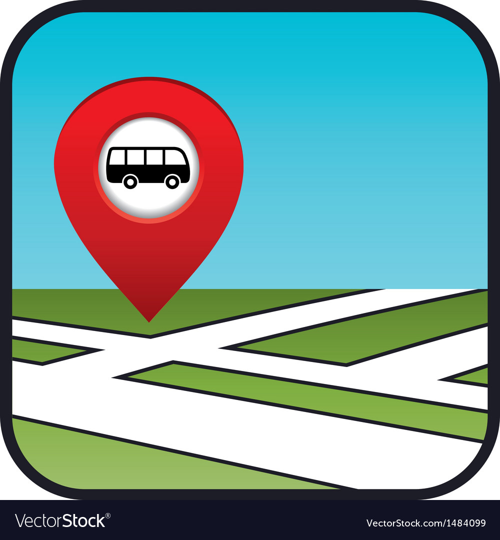 Street map icon with the pointer bus stop vector | Price: 1 Credit (USD $1)