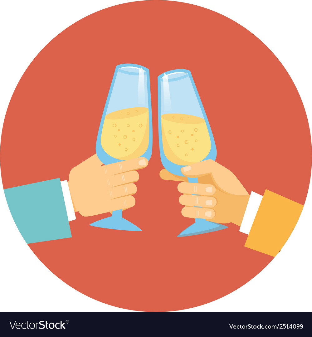 Two men toasting with champagne vector | Price: 1 Credit (USD $1)