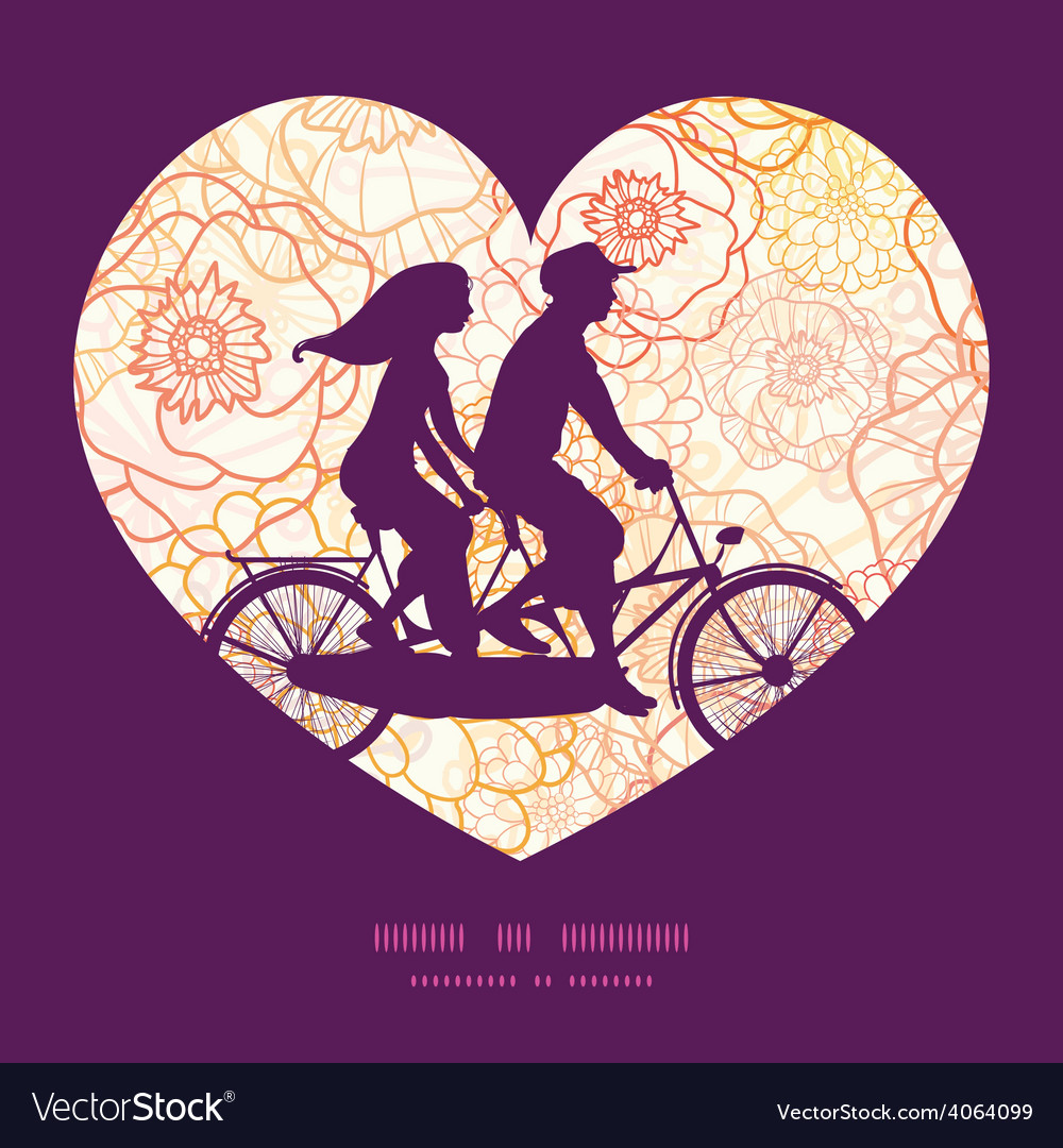 Warm flowers couple on tandem bicycle heart vector | Price: 1 Credit (USD $1)