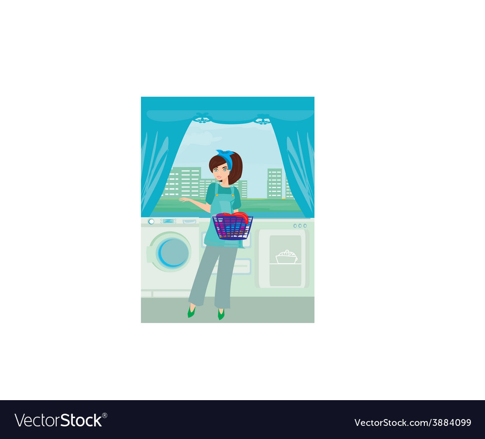Young woman doing laundry at her home vector   Price: 1 Credit (USD $1)