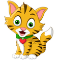 Cute little cat cartoon posing vector