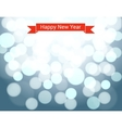 Happy new year ribbon on silver bokeh background vector