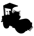Road roller black and white silhouette on iso vector
