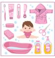 Set of children things for bathing vector