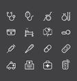 Hospital element white icon set on black backgroun vector