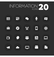 Thin information icons on dark gray vector