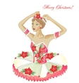 Christmas ballerina wiht flowers vector