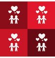 Paper people holding hands with hearts on red vector