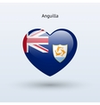 Love anguilla symbol heart flag icon vector