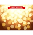 Happy new year ribbon on gold bokeh background vector