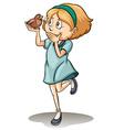 Girl holding a talking bird vector
