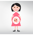Pregnant woman isolated on grey background vector