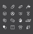 Soccer element white icon set on black background vector