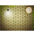 Vintage clock at brick wall in the night vector
