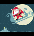 Santa with parachute in moon background separate l vector