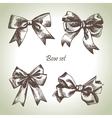 Set of bow hand drawn of ribbons vector
