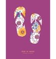 Colorful oriental flowers flip flops vector