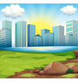 A view of the tall buildings under the bright sun vector