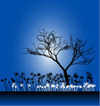 Tree silhouette with the grass vector