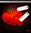 Two red hearts valentines day background vector