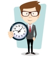 Businessman holding a clock vector