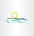 River and sun symbol vector