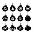Christmas ball christmas bauble icons set vector