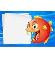 A piranha under the sea beside an empty paper vector