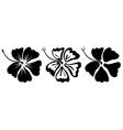 Hibiscus silhouettes set vector
