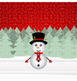 Snowman in a christmas forest vector