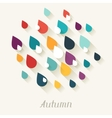 Autumn background with falling drops in flat vector