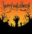 Halloween background with zombies hand vector