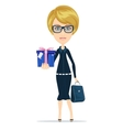 Business woman holding a gift for you vector